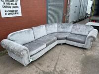 SOLD!! Absolutely Gorgeous SCS silver velvet corner sofa delivery 🚚 sofa suite couch furniture