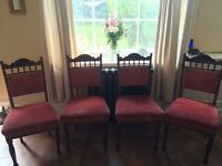 4 Arts and Craft Dining chairs - beautiful carved detail & blush pink velvet cushion covering.