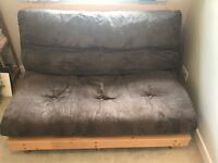 The Futon Company Chocolate Brown Two Seat Trifold Futon & Frame Excellent Condition