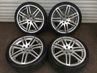19'' AUDI VW A4 RS4 S LINE ALLOY WHEELS TYRES ALLOYS GOLF MK5 MK6 A3 A6 PASSAT CADDY JETTA 5x112