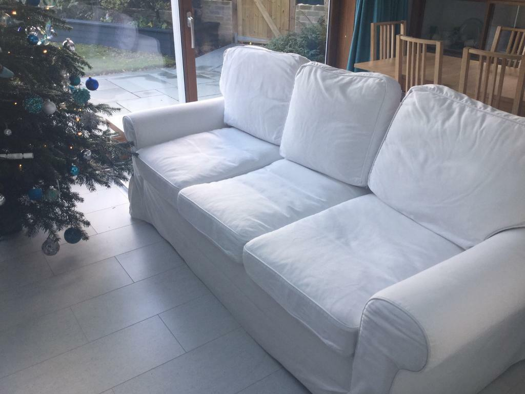 Ikea White 3 Seater Metal Action Sofa Bed And 6 Additional Cushion Covers