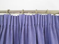 Pair of large plain purple fully lined curtains handmade and in immaculate condition