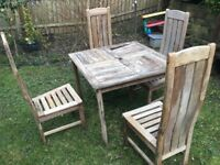 WOODEN TABLE WITH 4 HIGH BACK CHAIRS
