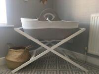 Beautiful MOBA crib in dove grey with John Lewis stand