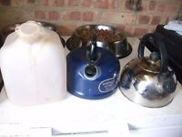 2 Whistling Kettles & Water Container