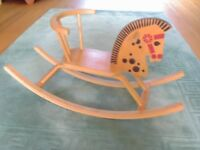 CHILD'S WOODEN ROCKING HORSE - UNUSED