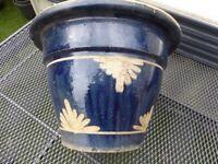 Glazed dark blue pot 34.5cm across at top x 24cm high