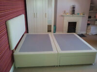 King size Divan bed w 2 drawers and headboard, beige/natural (w/o mattress), Self collection only!!