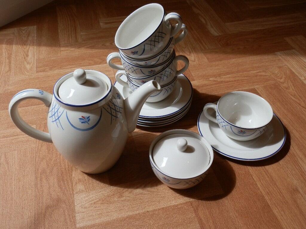 Habitat 'Barton' set: Tea/Coffee pot, sugar bowl, 6 cups and saucers