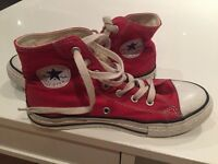 Red kids converse high tops size 2.5