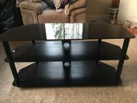 Large (100cm) black glass tv stand