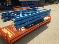 4 bay run of dexion style pallet racking ( storage , shelving )