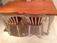 Cream and pine dining table and 4 chairs