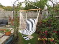 Blue/white striped garden swing chair. Good condition, includes rope, hook.