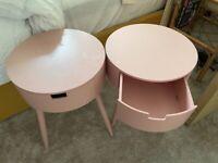 X2 pink Bedside tables