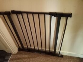 Grey baby gate like new. Baby monitors new boxed