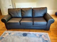 3 Seater Black leather couch with fold out bed