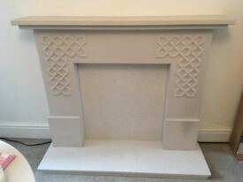 Marble and wood ornamental fireplace/fire surround