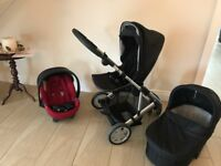 Real good condition Mamas & Papas Zoom 3 in 1 pram car seat stroller and also Isofix
