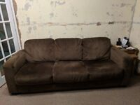 Brown fabric 3 piece suite / Sofa and Chairs
