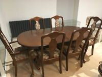 Solid wood antique dining set inc extendable table, 6 chairs, sideboard and console table