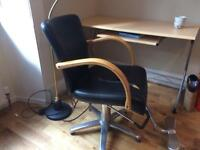 Top Quality ADJUSTABLE BARBER Style RETRO Bent Wood Steel Frame Chair