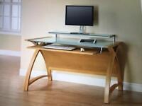 Dual oak computer desk