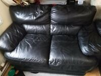 A PAIR OF PURE BLACK LEATHER SOFAS 2 & 3 SEATER FOR SALE