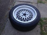 "Genuine BMW E39 17"" Cross spoke Alloy split rim Wheel & New Tyre."