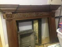 Victorian Mahogany and Tiled Fire Surround, Mantelpiece and Fire