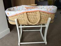 Mothercare Moses basket crib and accessories plus wooden rocking stand