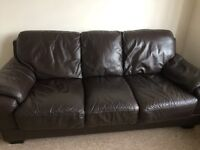 3 seater sofa & arm chair in chocolate brown leather