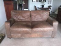 Beautifully worn, brown, shabby chic, medium 2 seater leather sofa