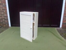 Wall storage unit with slatted front, could be used in bedroom, kitchen, etc