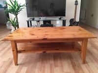 Retro Pine Coffee Table With Storage Shelf - Great Condition