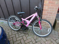 """Girls Apollo 24"""" Mountain Bike, 8-13 year old, front & rear suspension, 18 Shimano gears, like new"""