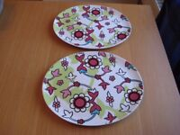 Ikea floral serving platters/trays x2