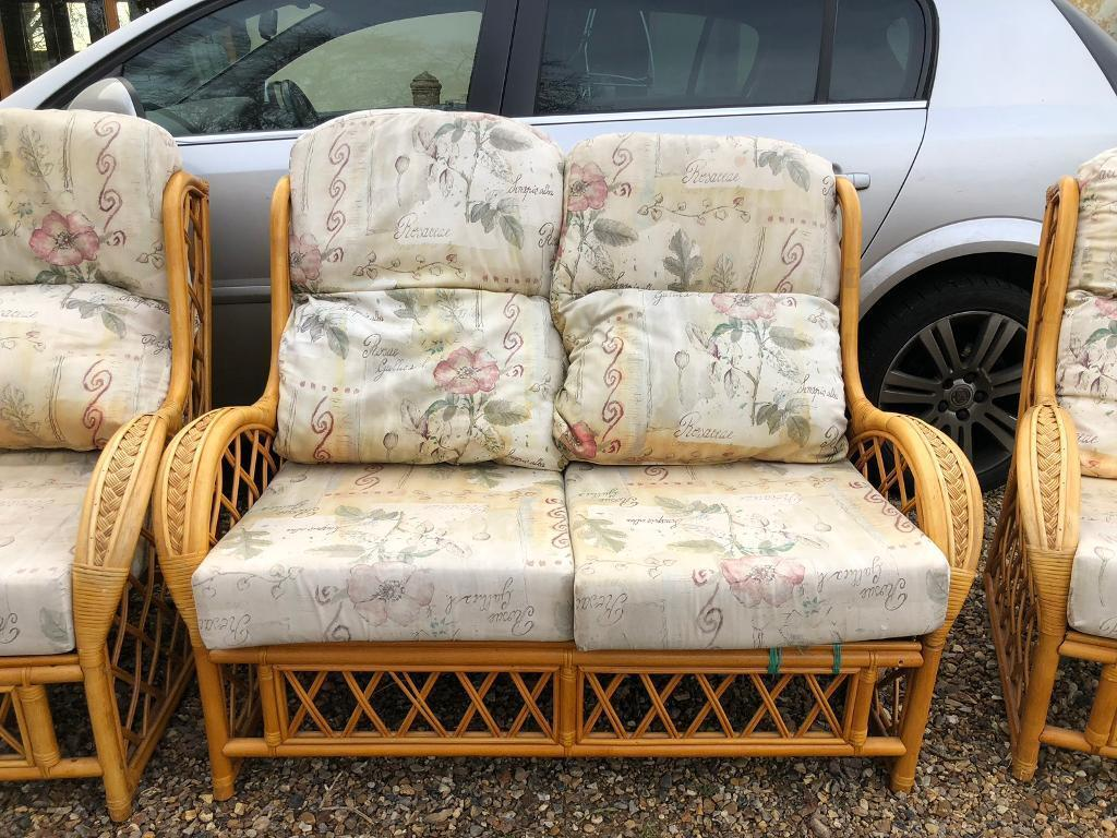 Cane settee and 2 chairs ipswich