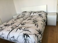 Ikea Bed Frame, Memory Foam Mattress, Bedside Tables, Duvet And Covers