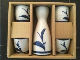 Japanese Sake flask and cup set