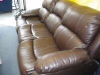 3-SEAT LEATHER-LOOK RECLINER SOFA.