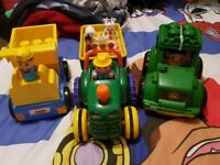 Old macdonald tractor an two lego trucks.