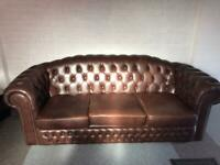 Chesterfield brown leather three seater sofa