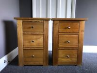 Pair of Solid Oak 3 drawer Bedside Tables RRP £200 each!