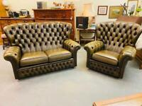 Fabulous dark olive green deep button real leather chesterfield suite