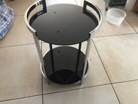 Black glass round 2 tier side table