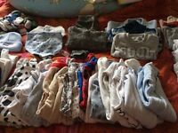 Bundle of Baby boy clothes - long sleave (0-3 months) + sleeping bag