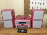 CURTIS CD HIFI SYSTEM PINK WITH FM/AM RADIO REMOTE CONTROL EXCELLENT CONDITION