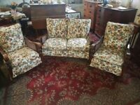 Antique Three Piece Bergere Suite cleen Upholstery