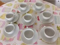 8 COFFEE CUPS & SAUCERS BOUGHT IN CARGO UNUSED 100ml ESPRESSO
